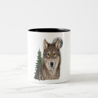 wolf art Two-Tone coffee mug