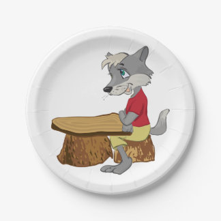 Wolf At A Table Paper Plates