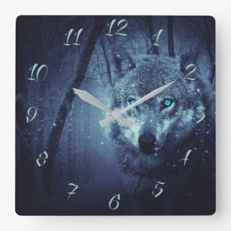 Wolf blue eyes square wall clock