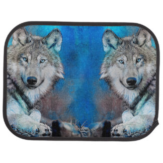 Wolf Blue Mixed Media Art Car Mat