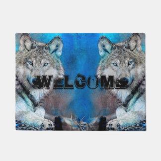 Wolf Blue Mixed Media Art Doormat