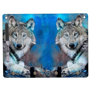 Wolf Blue Mixed Media Art Dry Erase Board With Keychain Holder