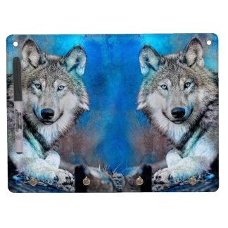 Wolf Blue Mixed Media Art Dry Erase Whiteboards