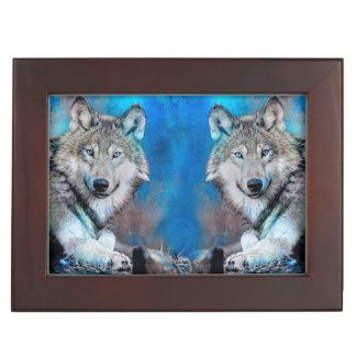 Wolf Blue Mixed Media Art Keepsake Box