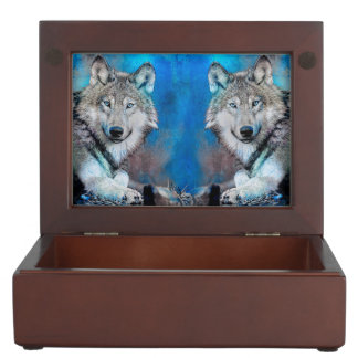 Wolf Blue Mixed Media Art Memory Boxes