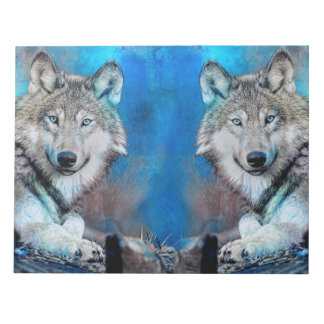 Wolf Blue Mixed Media Art Notepad