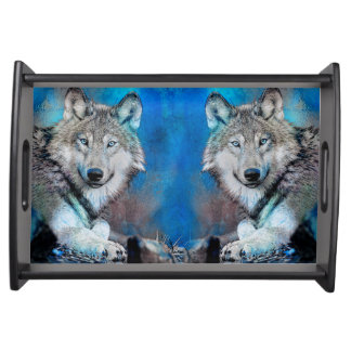 Wolf Blue Mixed Media Art Serving Tray