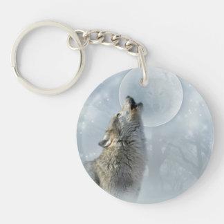 Wolf Blue Moon Key Chain