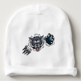 Wolf Bowling Mascot Breaking Background Baby Beanie