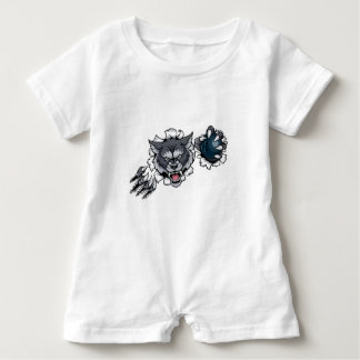 Wolf Bowling Mascot Breaking Background Baby Romper