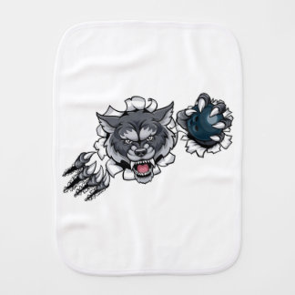 Wolf Bowling Mascot Breaking Background Burp Cloth