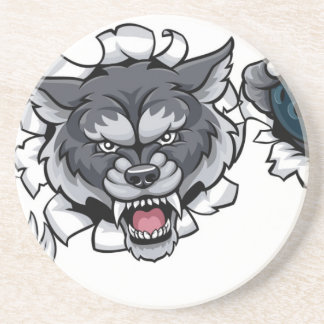 Wolf Bowling Mascot Breaking Background Coaster