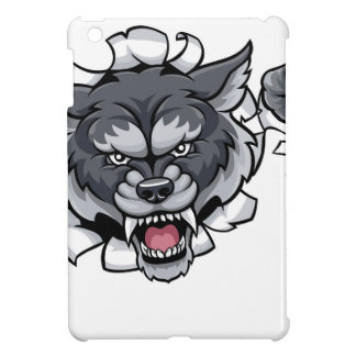 Wolf Bowling Mascot Breaking Background iPad Mini Case
