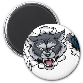 Wolf Bowling Mascot Breaking Background Magnet