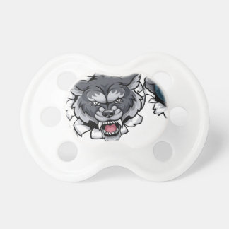 Wolf Bowling Mascot Breaking Background Pacifier