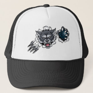Wolf Bowling Mascot Breaking Background Trucker Hat