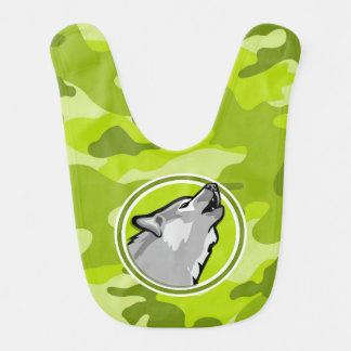 Wolf; bright green camo, camouflage bib