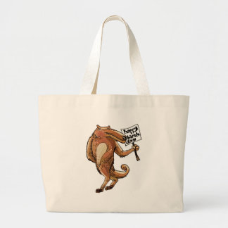 wolf cartoon style happy birthday message large tote bag