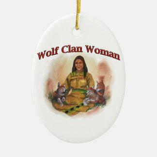 Wolf Clan Woman Ceramic Ornament