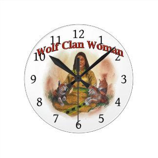 Wolf Clan Woman Round Clock