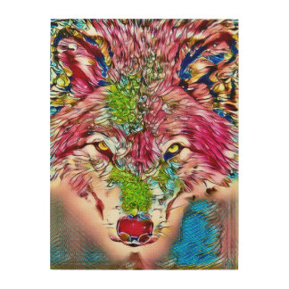 Wolf Color Pencil Wildlife Art Wood Print