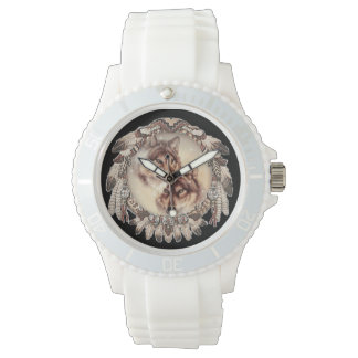 Wolf couple nestled within a dream catcher watch