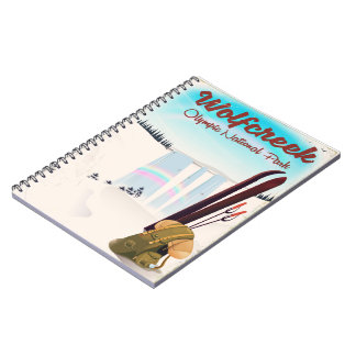Wolf Creek Olympic National Park Travel poster. Spiral Notebook