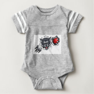 Wolf Cricket Mascot Breaking Background Baby Bodysuit