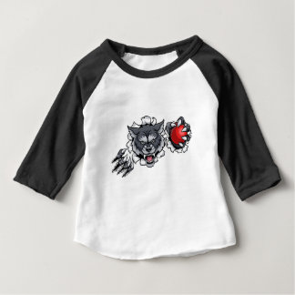 Wolf Cricket Mascot Breaking Background Baby T-Shirt