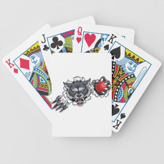 Wolf Cricket Mascot Breaking Background Bicycle Playing Cards