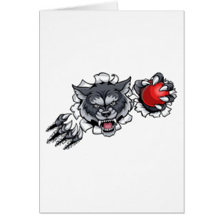 Wolf Cricket Mascot Breaking Background Card