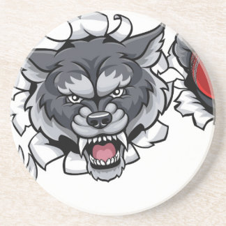Wolf Cricket Mascot Breaking Background Coaster