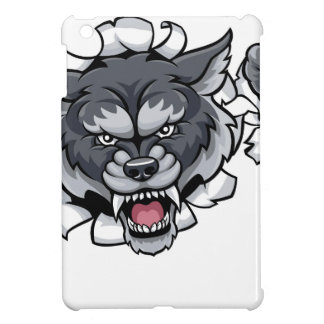 Wolf Cricket Mascot Breaking Background iPad Mini Cover