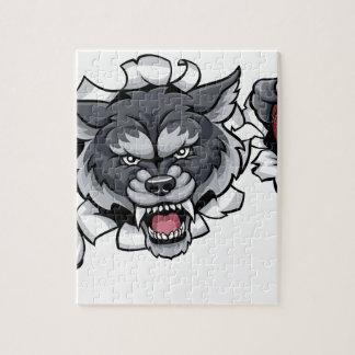 Wolf Cricket Mascot Breaking Background Jigsaw Puzzle