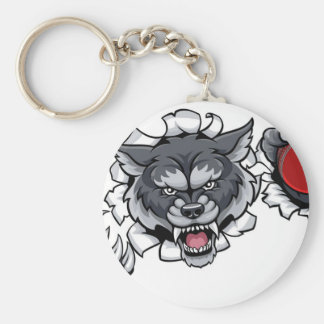 Wolf Cricket Mascot Breaking Background Keychain