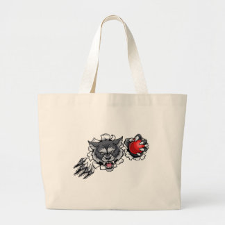 Wolf Cricket Mascot Breaking Background Large Tote Bag
