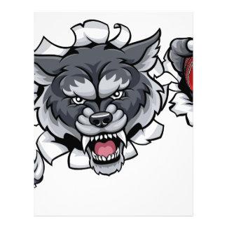 Wolf Cricket Mascot Breaking Background Letterhead