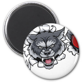 Wolf Cricket Mascot Breaking Background Magnet