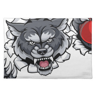 Wolf Cricket Mascot Breaking Background Placemat