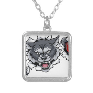Wolf Cricket Mascot Breaking Background Silver Plated Necklace