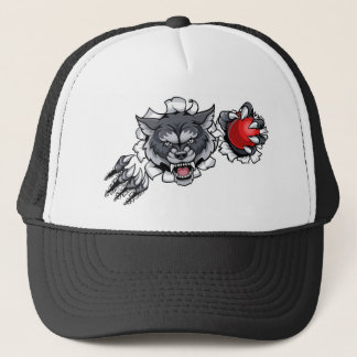 Wolf Cricket Mascot Breaking Background Trucker Hat