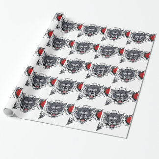 Wolf Cricket Mascot Breaking Background Wrapping Paper
