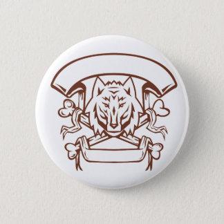 Wolf Cross Bones Banner Retro 2 Inch Round Button