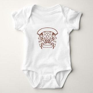 Wolf Cross Bones Banner Retro Baby Bodysuit