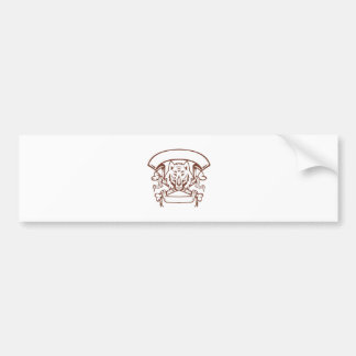 Wolf Cross Bones Banner Retro Bumper Sticker