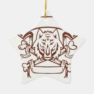 Wolf Cross Bones Banner Retro Ceramic Ornament