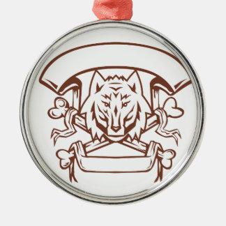 Wolf Cross Bones Banner Retro Metal Ornament