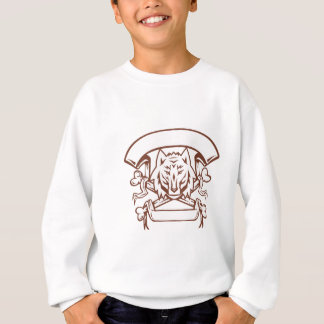 Wolf Cross Bones Banner Retro Sweatshirt