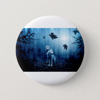 Wolf Dark Autumn Forest 2 Inch Round Button