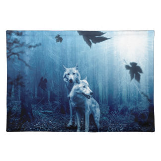 Wolf Dark Autumn Forest Placemat